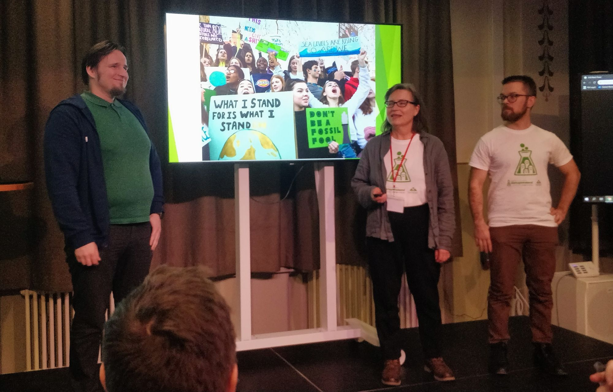 Photo: Out of the blue team pitching (my colleagues Tero and Ari-Pekka on stage)